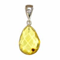 Pièce unique modèle 3 - pendentif ambre verte EXTRA avec Bélière argent design Choix B