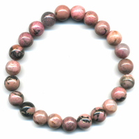 Bracelet en rhodonite boules 8mm