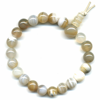 Mala tibétain 21 graines Power Bracelet Agate naturelle boule 8 mm