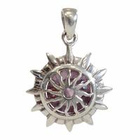 Médaille Chakra Sahasrara Argent 925 avec Amethyste Naturelle