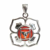 Médaille Chakra Muladhara Argent 925 avec Cornaline Naturelle