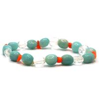 Bracelet pierres roulées amazonite cristal de roche et cornaline