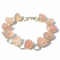 Bracelet chaîne quartz rose 19cm