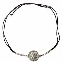 Bracelet Fleur de Vie Argent avec cordon ajustable en coton noir