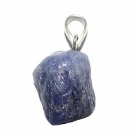 Pièce unique - Pendentif saphir bleu brut bélière argent - Modèle 1