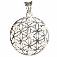 Pendentif Fleur de Vie 7 pierres - Pierre de Lune