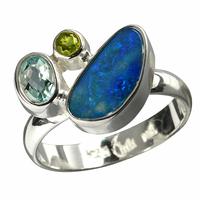 Bague opale doublet, topaze et péridot de conception élégante en argent 925