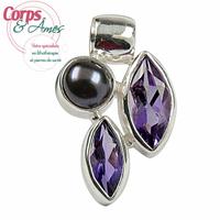 Pendentif améthyste et perle violette 2,4cm