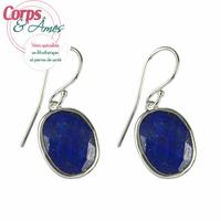 Boucles d'oreilles lapis lazuli à facettes en argent