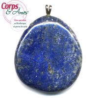 Pendentif Lapis Lazuli Pierre Plate Extra bélière argent