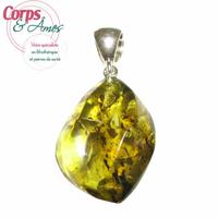 Pièce unique modèle 9 - pendentif ambre verte EXTRA avec Bélière argent design - Choix B