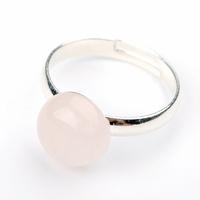 Bague quartz rose cabochon Rond