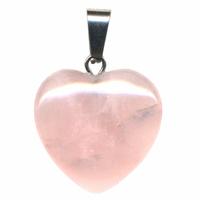 Pendentif quartz rose 20mm en Coeur