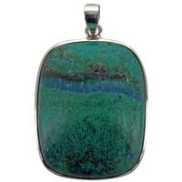 Pendentif en argent Azurite Malachite Argent - Tranche 3,5 à 4 cm