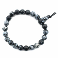 Mala tibétain 21 graines Power Bracelet Obsidienne neige boule 8 mm