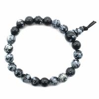 Mala tibétain 21 graines Power Bracelet Obsidienne neige boule 8 mm