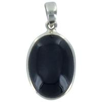 Pendentif Onyx Noir Argent - Tranche 4 à 5 cm