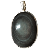 Pendentif Obsidienne Oeil Céleste Argent - Tranche 1,8 à 2,5 cm