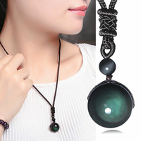 "Collier Obsidienne Oeil céleste (Arc-en-ciel) ""Protection et Purification"" Boule 16mm"
