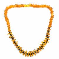 Collier Ambre Miel et perles d'ambre Brun Adulte de 45cm