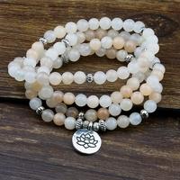 Mala tibétain 108 perles en Aventurine rose