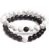 """Bracelets """"Yin Yang"""" en pierres naturelles Howlite Blanche et Onyx Noir"""