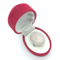 Bague en Quartz rose cabochon ovale