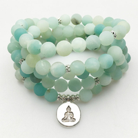 "Bracelet Mala ""Relaxation"" en Amazonite naturelle perles 108 grains"