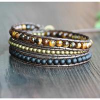 Bracelet Triple Oeil de tigre Cuivre et Bois noir en cuir