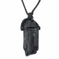 Collier Tourmaline noire pierre brute XL avec cordon