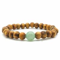 Bracelet bois naturel et pierre d'aventurine