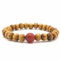 Bracelet bois naturel et pierre de cornaline