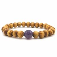 Bracelet bois naturel et pierre d'améthyste