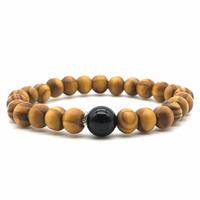 Bracelet bois naturel et pierre d'onyx noir