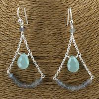 Boucles d'oreilles en Argent - Labradorite et Aqua Calcite