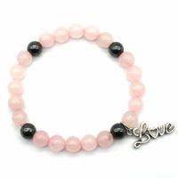 Bracelet Love en quartz rose et hématite magnétisée boules 8mm