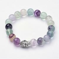Bracelet boule Fluorine/Fluorite tête de bouddha