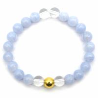 Bracelet Anti-Stress Calcédoine et Cristal de roche lithothérapie