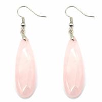 Boucles d'oreilles quartz rose navettes facettées