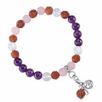 Bracelet Mala Améthyste, Cristal de roche, Quartz rose (Vitalité)