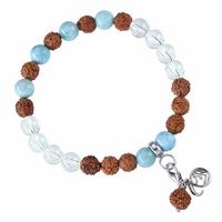 Bracelet Mala Cristal de roche, Larimar (Ouverture)