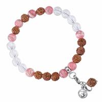 Bracelet Mala Cristal de roche et Rhodochrosite (Stimuler)