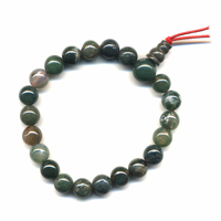 Mala tibétain Power Bracelet Agate mousse boule 8 mm