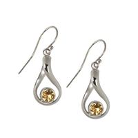 Boucles d'oreilles citrine cabochon facetté en forme de courbe en argent 925
