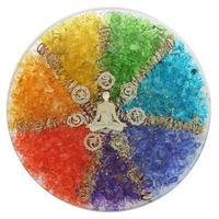 Sous verre Orgonite 7 Chakras avec symbole Méditation