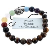 Bracelet 7 Chakras Oeil de tigre Perles rondes 8 mm Perle Bouddha