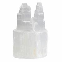 Tour en sélénite blanche double échelonnée de 10 cm