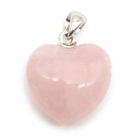 Pendentif quartz rose 20mm en Coeur bombé