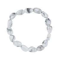 Bracelet pierres roulées en Howlite Blanche