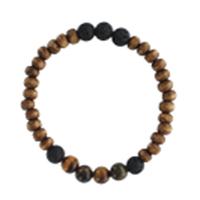 Bracelet H Bois, Oeil de Tigre et Pierre de lave Perles rondes 8 mm